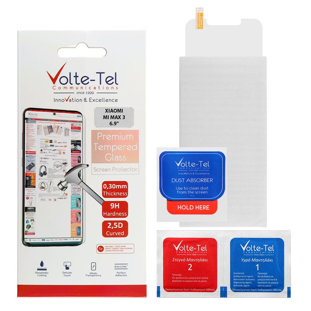 VOLTE-TEL TEMPERED GLASS XIAOMI MI MAX 3 6.9″ 9H 0.30mm 2.5D FULL GLUE
